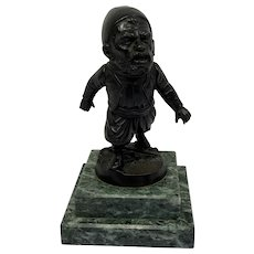 A bronze gnome as a match holder for on a desk with a marble base - Marble, Bronze - Ca. 1890 - France