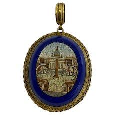 Grand Tour Pietra Dura artwork in 14 carat pendant - Freestone, Gold - Approx. 1870