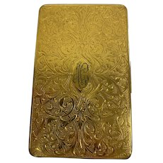 Evans - Heavy gold-plated cigarette case with monogram