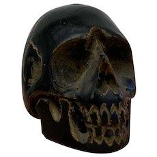 Miniature Momento Mori - Skull - Jak hoorn - Ca. 1890