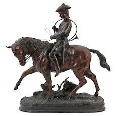 Signed Bemje (?) Jager with Horn on horseback - Zamak