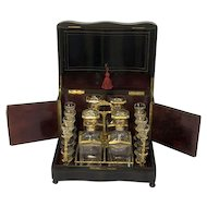 A Napoleon III bois noirci liquor cellar with turtle inlays - Complete gilt interior - France - circa 1880