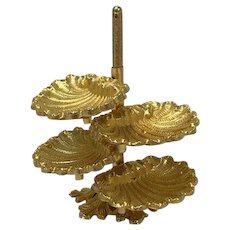 Hollywood Regency style - Heavy gilt ashtray tower