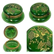 """Jewelery box """"trinket box"""" with gold painting - Glass - France - 1875-1899"""