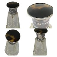 Perfume / Fragrance bottle with silver turtle shell - Glass - United Kingdom - 1900-1924