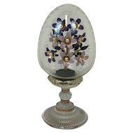 Franklin Mint Egg with enamelled flowers bouquet - House of Fabergé - Imperial Eggs - Glass