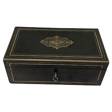 Black lacquered writing box with drawer - Wood, Brass - Napoleon III
