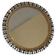 Victorian round mirror with many glass stones - England - Approx. 1920