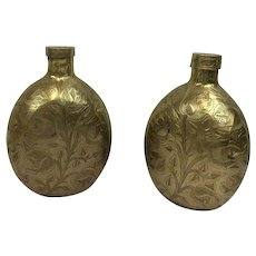 Flaks with engraving - Set of 2 - Copper - Belgium - 1950-1974
