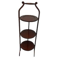 "Collapsible ""cake stand"" - United Kingdom - Approx. 1910 - Wood, Mahogany"
