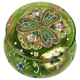 """Round box with lid """"trinket box"""" with painting - France - Ca. 1900"""
