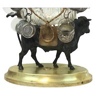 Tantalus bull with gregory enamel glass barrel - France - Ca. 1840