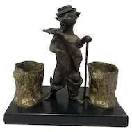 Bronze inkwell - Puss in Boots - Bronze, Marble - 19th century
