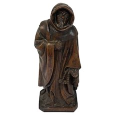 Wooden sculpture of a monk - France - Ca. 1900