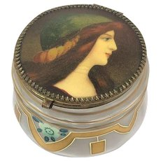 Glass trinket box with portrait (hand paint) - Glass - 19th century