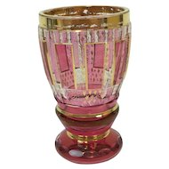 """Moser vase with 24 carat gold-plated paintings and cranberry """"panels"""" - Approx. 1930, Czech Republic"""