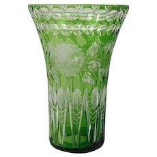 Large emerald colored Bohemian vase - Glass - Czech Republic - 1920-1949