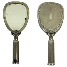 Hand mirror, powder box and lipstick in one. - .800 silver, Lapis Lazuli - 19th century