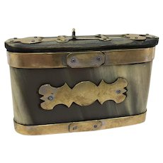 Wide snuff box - Horn, wood and metal - 19th century