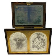 """Rare writing box with """"whiteboard"""" for drawing - England - Approx. 1880"""