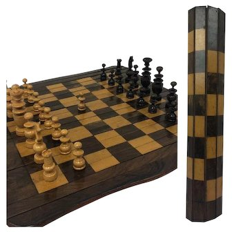 Rare rollable chessboard + stones - Wood - United Kingdom - 1850