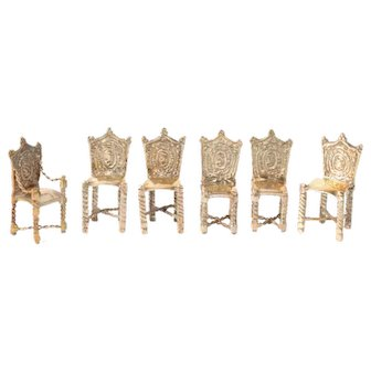 Silver miniature armchair and 5 miniature chairs - Dollhouse - Dutch - 19th century