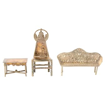 Silver miniature couch, miniature table and miniature chair - dollhouse furniture - Netherlands - 19th century