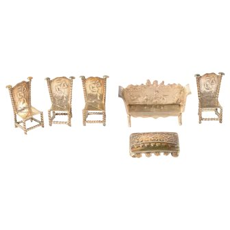 Miniature silver sofa, 4 miniature silver chairs and miniature silver pouf - Netherlands - 19th century