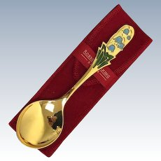 Silver plated spoon with enamel in case - .925 silver, Gilded - Robbe & Berking - Germany - 1988