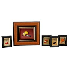 5 still life miniatures - signed Monogram P - board framed