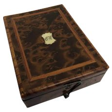 Napoleon III - pocketwatch box - Leg, Brass, Walnut - Approx. 1880