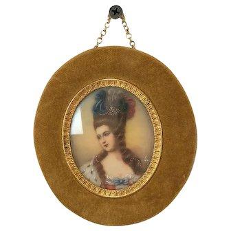 Miniature portrait in velvet frame - France - Ca. 1900