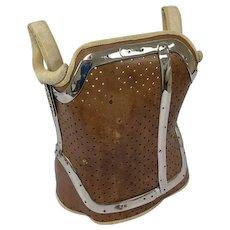 Antique corset with aluminum - Aluminum, Leather