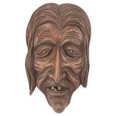 """R.Lecovez - Wood carving """"old woman"""" - Wood - 1973"""