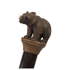 Walking stick crowned with black forest (black forest) bear - Wood - 19th century