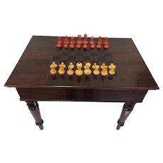 Solid mahogany chess table with chess stones - Mahogany - Ca. 1890