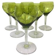 Olive green engraved glass - 6 pieces - France, Ca. 1900