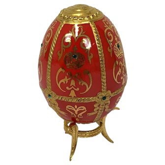 Faberge Imperial Jeweled Egg by Franklin Mint - Golden Crown - Approx. 1990