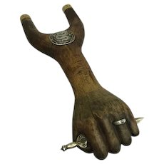 Figa symbol with sword, ring and dragon - Wood, Silver, Brass - Approx. 1910 - Brazil