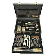 SBS Solingen - incomplete cutlery in cutlery case - 23 carat gold plated