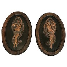 Jean-Baptiste Germain (1841-1910) Two wall plaques in copper by foundry L'Oudry