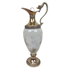 Glass decanter with silvered base, neck and spout - Buton - Italy - Approx. 1970