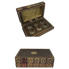 A book simulant liqueur cellar - with 6 shot glasses - France - 19th century