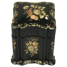 "Victorian paper mâché ""card box"" hand painted and inlaid with mother-of-pearl - England - Approx. 1890"