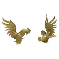 Pair of gilt roosters - table pieces - Netherlands - Ca. 1940