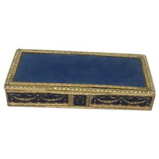 Gilt metal box with blue guilloche enamel and with about 100 glass stones - France - Ca. 1930