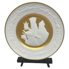 """Franklin Mint - """"We Three Kings"""" Christmas Plate with 24 carat gold leaf - 1978"""