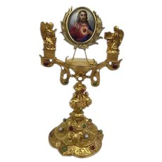 Gilded 'altar' with hand painted portrait Christ and inlaid with precious stones - Ca. 1860/1880