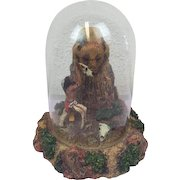 """Franklin Mint - Limited Edition - Hand-painted image by R.F. Murphy """"Great spirit of the plains"""" in glass dome - around 1985"""