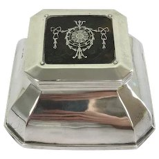 English antique sterling silver desk inkwell- Henry Matthews - Birmingham - Approx. 1900/1910